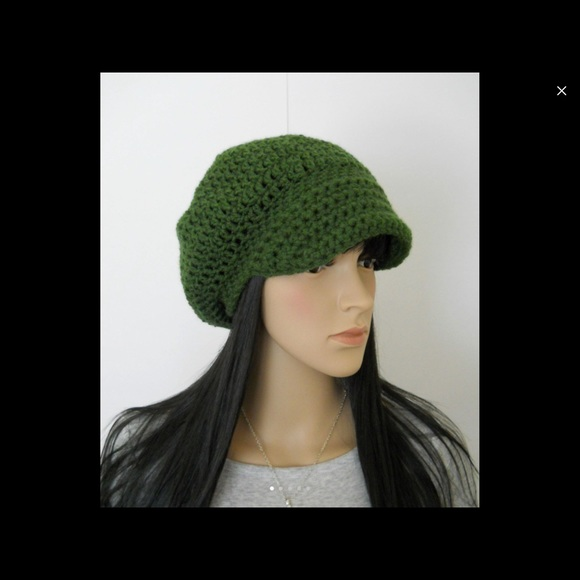 7fe1696b8d7 Accessories - Newsboy Slouchy Green Beanie Crochet Hat with Brim